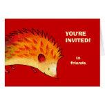Orange Hedgehog Greeting Card(customisable)
