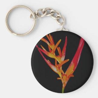 Orange Heliconia Key Ring