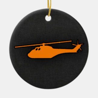 Orange Helicopter Christmas Ornament