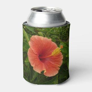 Orange Hibiscus Flower Can Cooler