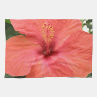 Orange Hibiscus Flower Macro Kitchen Towel