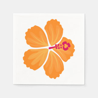 Orange Hibiscus Flower Paper Napkin