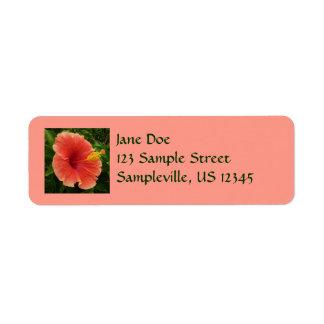 Orange Hibiscus Flower Return Address Label