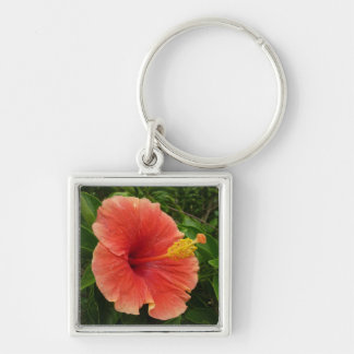 Orange Hibiscus Flower Tropical Floral Silver-Colored Square Keychain