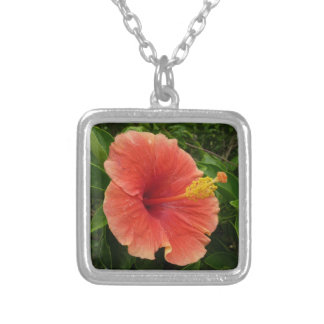 Orange Hibiscus Flower Tropical Floral Silver Plated Necklace