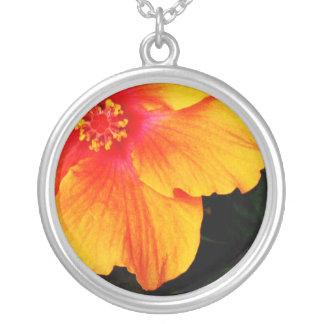 Orange Hibiscus Flower Tropical Necklace