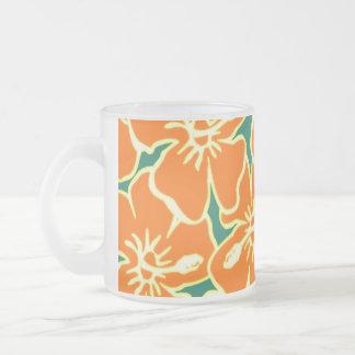 Orange Hibiscus Flowers Tropical Hawaiian Luau Frosted Glass Mug