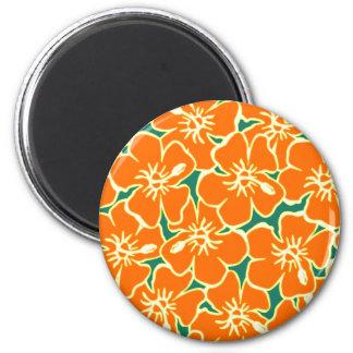 Orange Hibiscus Flowers Tropical Hawaiian Luau 2 Inch Round Magnet