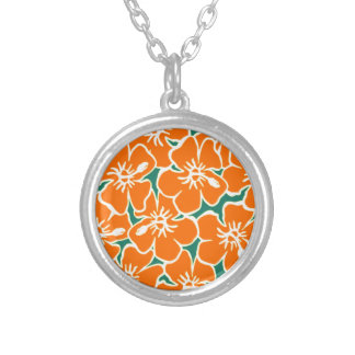 Orange Hibiscus Flowers Tropical Hawaiian Luau Round Pendant Necklace