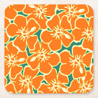 Orange Hibiscus Flowers Tropical Hawaiian Luau Square Paper Coaster