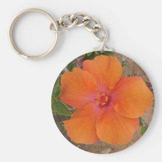Orange Hibiscus key chain