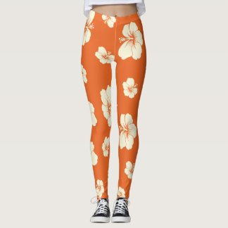Orange Hibiscus Leggings