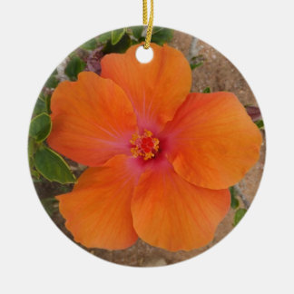 Orange Hibiscus ornament, customize Christmas Ornament