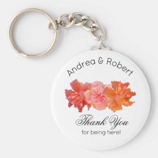 Orange Hibiscus Personal Thank You Key Ring Favor Basic Round Button Key Ring