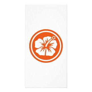 Orange hibiscus picture card