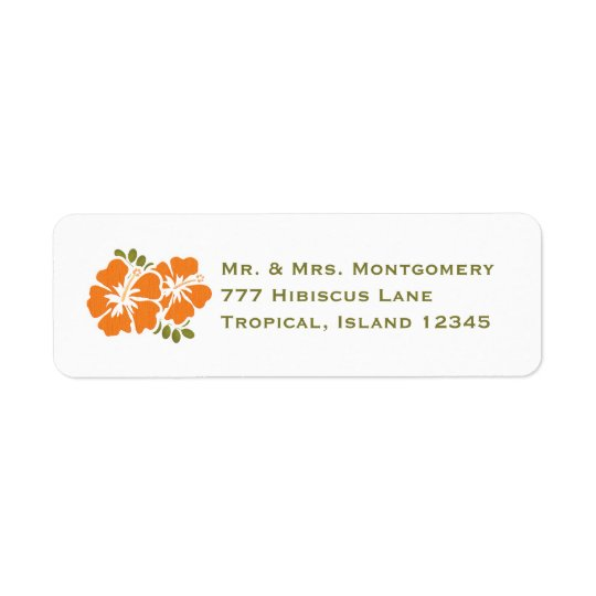 Orange Hibiscus Return Address Labels Custom