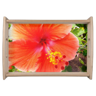 Orange Hibiscus Serving Tray