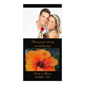Orange Hibiscus Thank You Photo Cards
