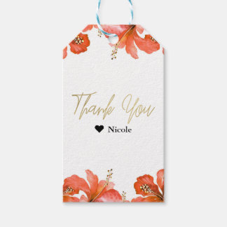 Orange Hibiscus Tropical Flowers White Party Favor Gift Tags