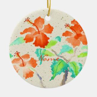 Orange Hibiscus Watercolor Painting Beige Washi Ornaments