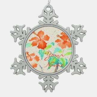 Orange Hibiscus Watercolor Painting Beige Washi Pewter Snowflake Decoration