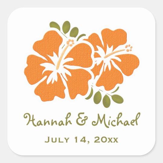 Orange Hibiscus Wedding Favour Sticker Seal
