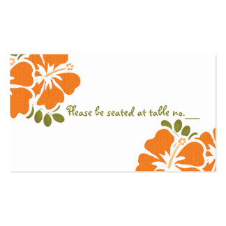 Orange Hibiscus Wedding Table Place Cards Double-Sided Standard Business Cards (Pack Of 100)