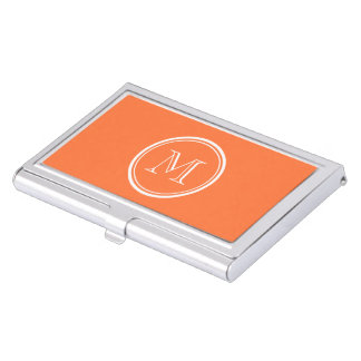 Orange High End Colored Monogrammed Business Card Cases