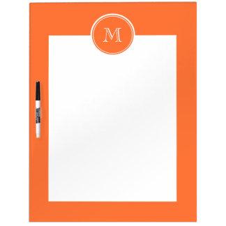 Orange High End Colored Monogrammed Dry Erase Board