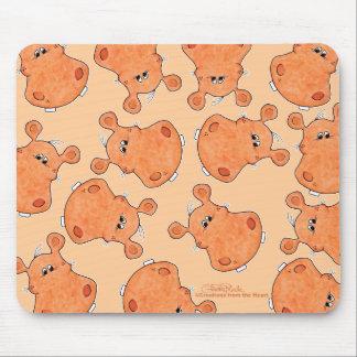 Orange Hippo Head collage Mouse Mat
