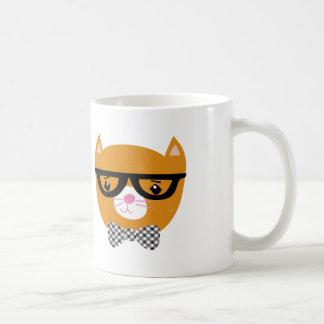Orange hipster cat mug