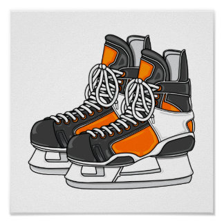 Orange Hockey Skates Poster