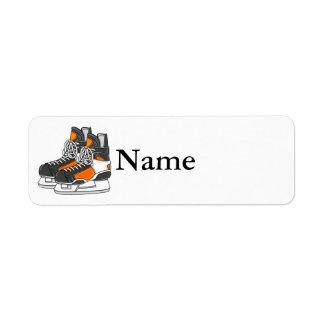 Orange Hockey Skates Return Address Label