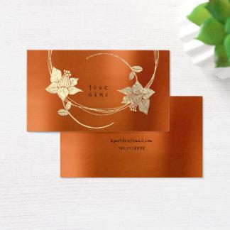 Orange Honey Maroon Foxier Gold Metallic Floral Business Card