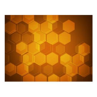 Orange honeycomb hexagon pattern postcard