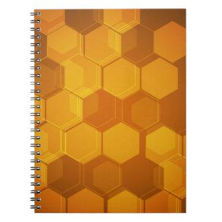Orange honeycomb hexagon pattern spiral notebooks