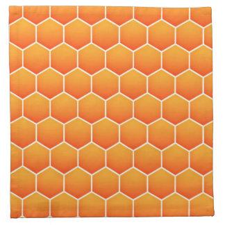Orange honeycomb pattern printed napkin