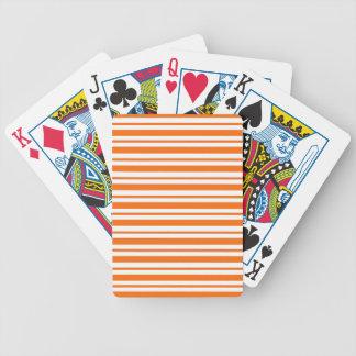 Orange Horizontal Pinstripe Bicycle Playing Cards