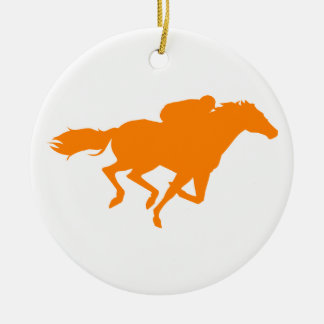 Orange Horse Racing Round Ceramic Decoration