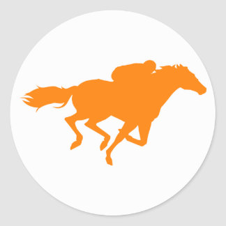 Orange Horse Racing Round Sticker