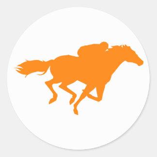 Orange Horse Racing Round Sticker