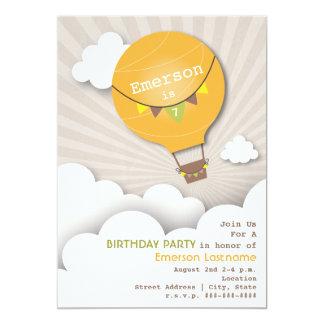 "Orange Hot Air Balloon & Clouds Kids' Birthday 5"" X 7"" Invitation Card"