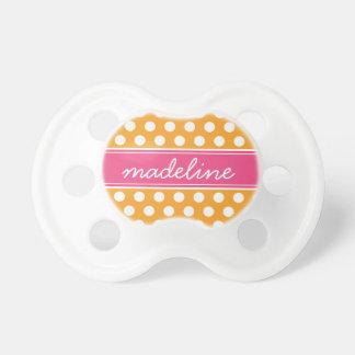 Orange & Hot Pink Polka Dots & Monogram Baby Pacifier