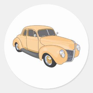 Orange Hot Rod Round Sticker