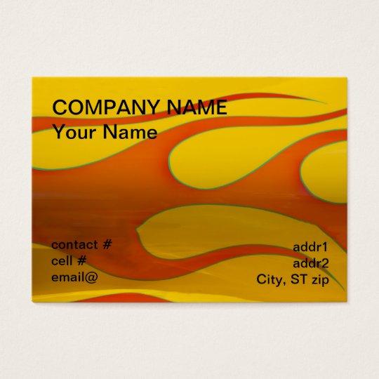 orange hotrod flames business card