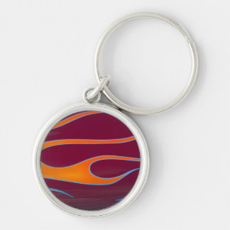 orange hotrod flames on burgundy Silver-Colored round key ring