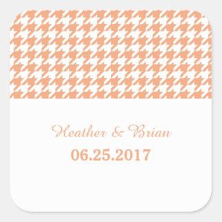 Orange Houndstooth Wedding Stickers