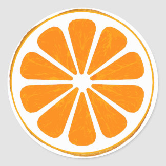 orange. hybrid. classic round sticker