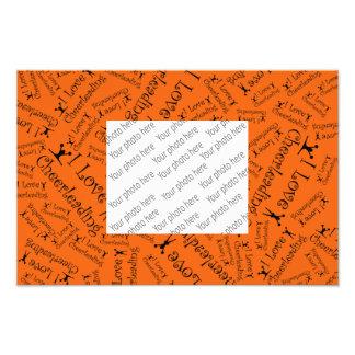 Orange I love cheerleading Photographic Print