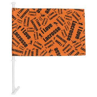 Orange I love lacrosse Car Flag